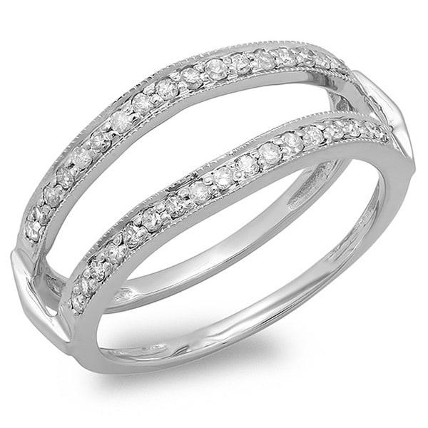 Elora 14k White Gold 1/3ct TDW Millgrain Diamond Engagement Wrap Guard Ring