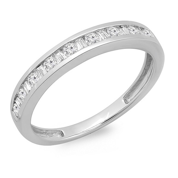 Elora 14k White Gold 2/5ct TDW Round and Baguette Cut Diamond Channel Set Band