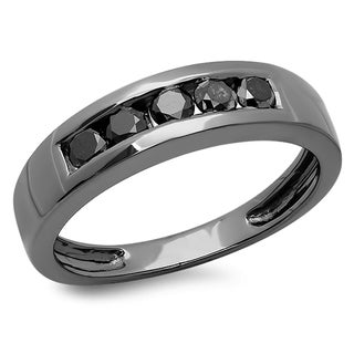 Elora Black Plated Sterling Silver 3/4ct TDW Black Diamond Men's Channel Set Band