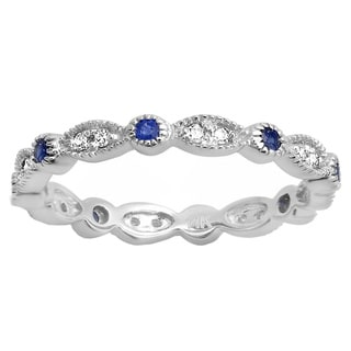14k White Gold 1/6ct TDW Blue Sapphire and Diamond Vintage Style Band (I-J, I2-I3)