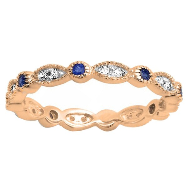 Elora 14k Gold 1/6ct TDW Blue Sapphire and Diamond Vintage Style Band