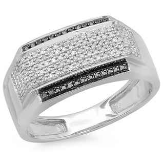 Elora Platinum-plated Sterling Silver 1/2ct TDW Black and White Diamond Men's Ring
