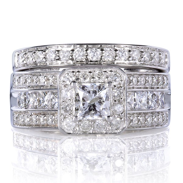 Annello 14k Gold 1 5/8ct TDW Princess-cut Halo Diamond Bridal Set
