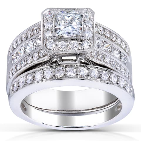 Annello by Kobelli 14k Gold 1 5/8ct TDW Princess-cut Halo Diamond Bridal Set