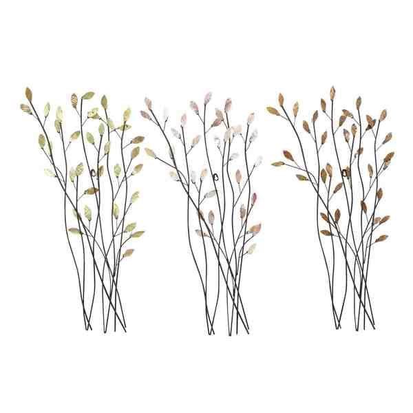 assorted twig shape metal wall decor set of 3 free whale twig wall d 233 cor world market