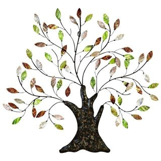 Copper Grove Kitty Tree with Leaves Metal Shell Wall Decor