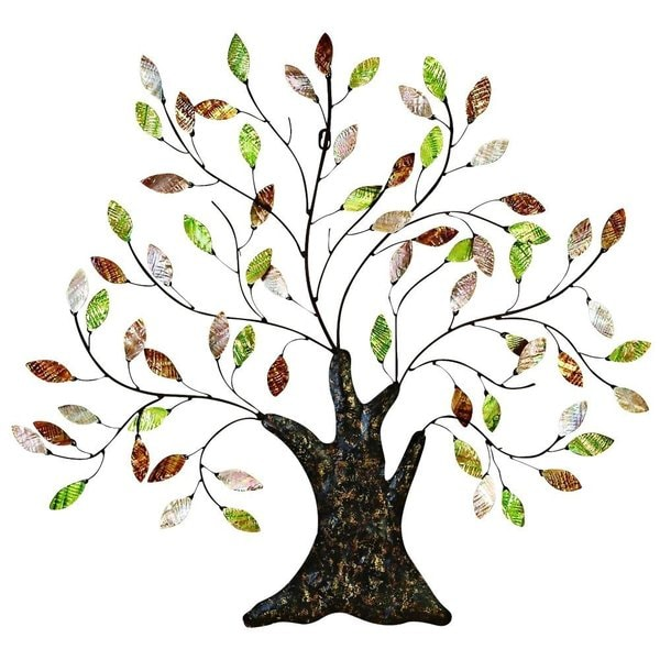 Metal Leaf Wall Decor metal/ shell tree with leaves wall decor - free shipping today