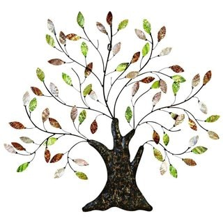 Metal/ Shell Tree with Leaves Wall Decor