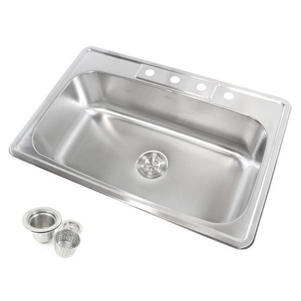 Stainless Steel Top Mount Drop In Single Bowl Kitchen Sink On Sale Overstock 8608905