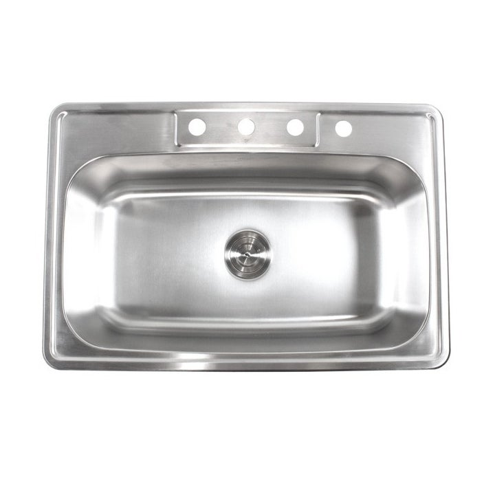 Stainless Steel Top Mount Drop In Single Bowl Kitchen Sink