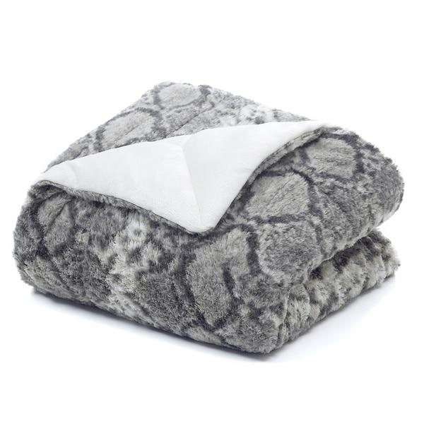 Snakeskin Faux Fur Throw Blanket