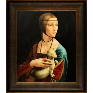 Leonardo Da Vinci Lady With an Ermine Hand Painted Framed Canvas Art