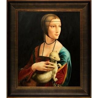 Leonardo Da Vinci Lady With an Ermine Hand Painted Framed Canvas Art