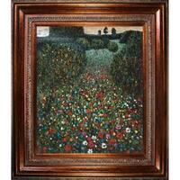 Gustav Klimt 'Field of Poppies' Hand Painted Framed Canvas Art
