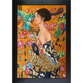 Gustav Klimt 'Signora con Ventaglio' Interpretation Hand Painted Framed Canvas Art