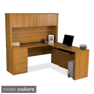 Bestar Embassy 3-drawer L-shaped Workstation Desk Kit