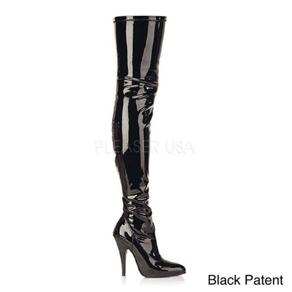 Pleaser Women's SEDUCE-3000 5-inch Stiletto Heel Plain Stretch Thigh High Boots