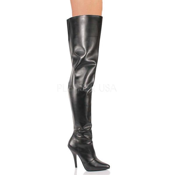 Pleaser Women's SEDUCE-3010 5-inch Stiletto Heel Classic Plain Thigh High Boots