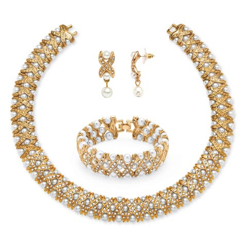 Yellow Goldtone Simulated Pearl and Crystal 3-Piece Jewelry Set