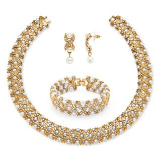 Yellow Goldtone Simulated Pearl and Crystal 3-Piece Jewelry Set|https://ak1.ostkcdn.com/images/products/8610051/P15877864.jpg?impolicy=medium