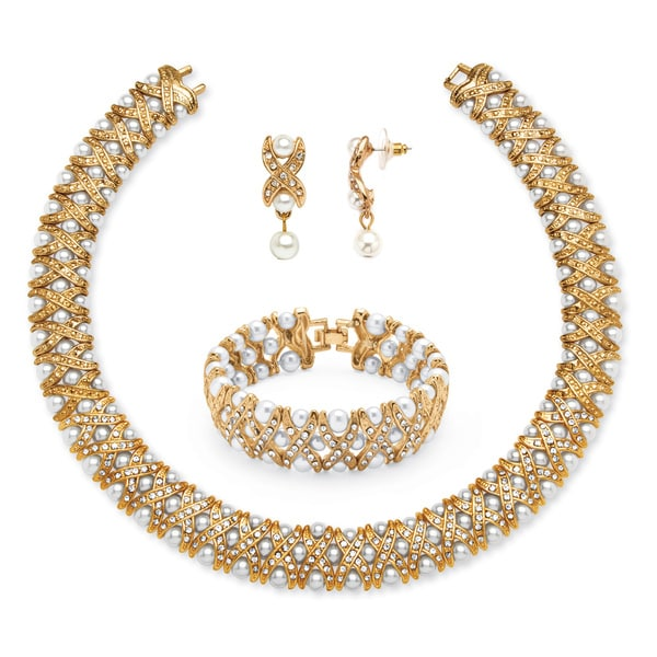 Yellow Goldtone Simulated Pearl and Crystal 3-Piece Jewelry Set. Opens flyout.