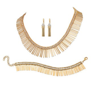 Fringe Design 3-Piece Jewelry Set in Yellow Gold Tone Bold Fashion