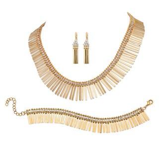 Fringe Design 3-Piece Jewelry Set in Yellow Gold Tone Bold Fashion
