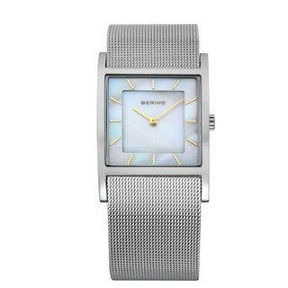 Bering Time Women's Classic Slim Stainless Steel Mother-of-Pearl Dial Watch