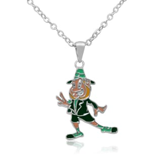 Junior Jewels Rhodium Plated Enamel Happy Leprechaun Pendant Necklace