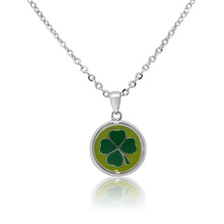 Junior Jewels Rhodium Plated Enamel Lucky 4-Leaf Clover Pendant Necklace