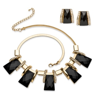 PalmBeach Black Crystal Vintage Style Jewerly Set in Yellow Gold Tone Bold Fashion
