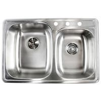 18-gauge Stainless Steel Double 33-inch Top-Mount/Drop-In 60/40 Bowl Kitchen Sink