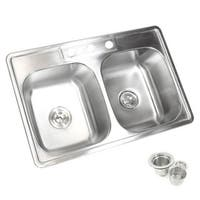 33-inch 18-gauge Top-mount/ Drop-in Stainless Steel Double 50/50 Bowl Kitchen Sink