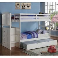 Donco Kids Arch Mission Twin Stairway Bunk Bed with Twin Trundle Bed