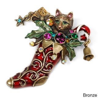 Sweet Romance Kitten In Christmas Stocking Vintage Pin