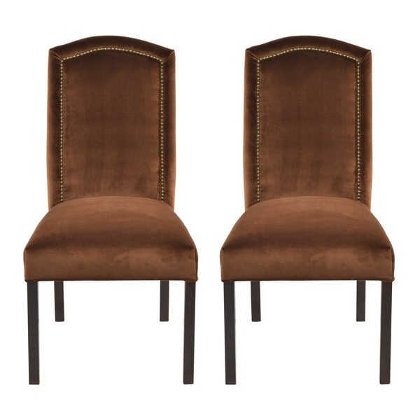 Como tobacco camelback back nail head dining chairs set for Dining room head chairs