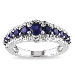 Miadora Sterling Silver Created Blue Sapphire Anniversary Band