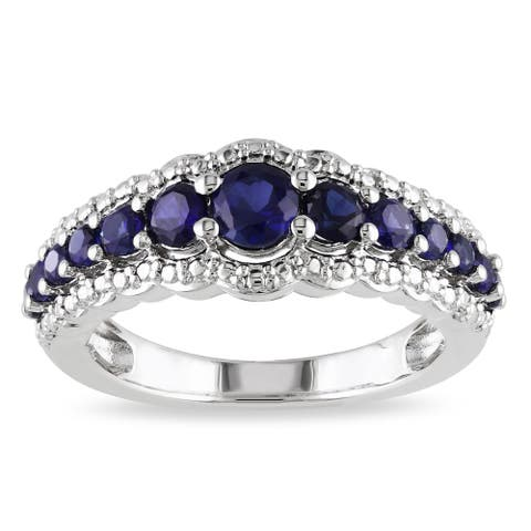 Miadora Sterling Silver Created Blue Sapphire Anniversary Band