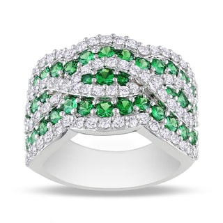Miadora Sterling Silver Tsavorite and White Sapphire Cocktail Ring