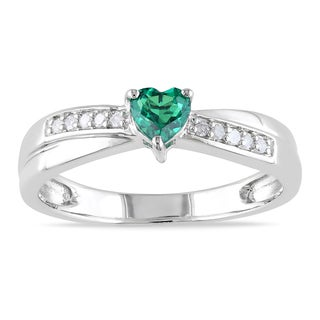 Miadora Sterling Silver Created Emerald and Diamond Accent Heart Ring