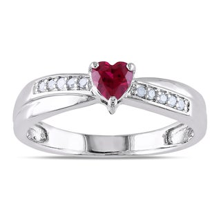 Miadora Sterling Silver Created Ruby and Diamond Accent Heart Ring