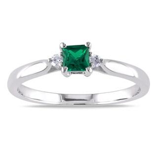 Miadora Sterling Silver Created Emerald and Diamond 3-Stone Ring