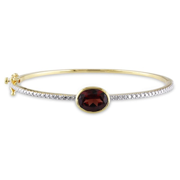 Miadora Yellowplated Silver Garnet Bangle