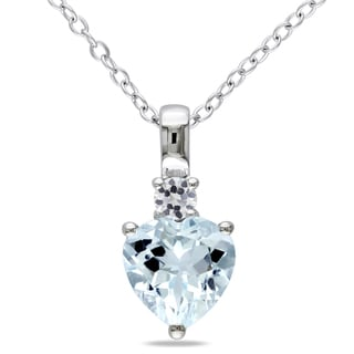 Miadora Sterling Silver Aquamarine and White Sapphire Heart Necklace