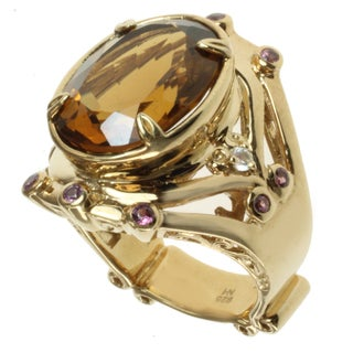 Dallas Prince Gold over Silver Whiskey Quartz, Rhodolite and White Zircon Ring
