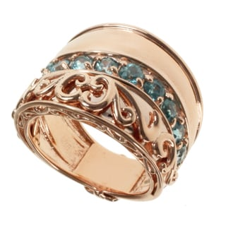 Dallas Prince Rose Gold over Silver and Blue Zirconia Ring