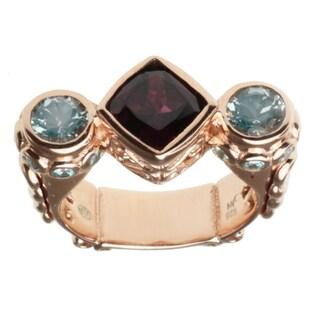 Dallas Prince Rose Gold over Silver, Rhodolite, Aquamarine and Blue Zircon Ring