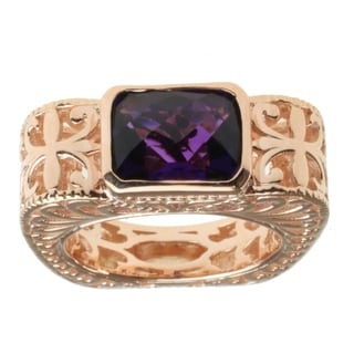 Dallas Prince Rose Gold over Silver and Amethyst Ring