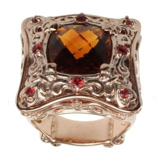 Dallas Prince Rose Gold over Silver, Madiera Citrine and Orange Sapphire Ring