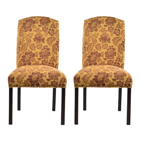 Cortland Honey Camelback Nail Trim Dining Chairs (Set of 2) - 21 inches w. x 26 inches d. x 41 inches h.